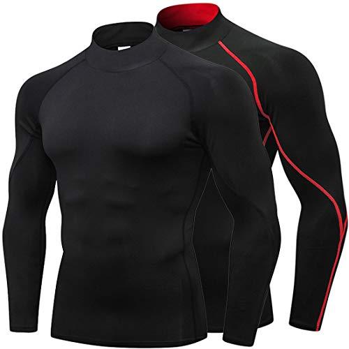 Mens Mock Turtleneck Compression Shirts Long Sleeve Sports Surfing Baselayer ()