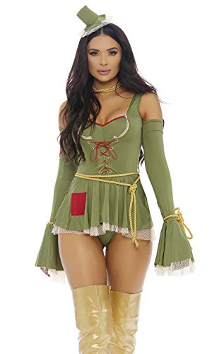 Forplay Women's Where's My Brain at Sexy Movie Scarecrow Character Costume, Green, S/M ()