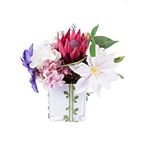 Artificial Flowers DIY Set Dining Table, Candlelight Dinner Flower Fake Bridal Bouquet with Vases Set Household Living Room Decoration (Protea cynaroides) 61