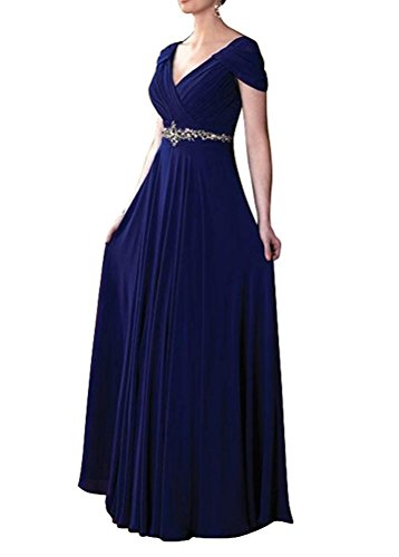 VaniaDress Women V Neck Crystal Beading Long Prom Dress Evening Gowns V260LF Royal Blue US20W
