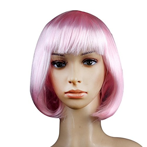 BESTOYARD Cosplay Wig Short Straight Bob Wigs with Bangs for Costume Halloween Party -