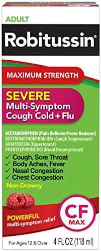 Cough & Sore Throat: Robitussin Maximum Strength Cough Cold & Flu