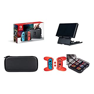 Nintendo Switch - Neon Blue and Red Joy-Con with AmazonBasics Carrying Case,Playstand,Game Storage & Grip Kit