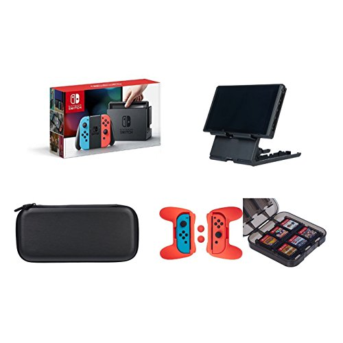 Nintendo Switch - Neon Blue and Red Joy-Con with AmazonBasics Carrying Case,Playstand,Game...