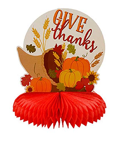 A&T Designs Thanksgiving Fall Season Give Thanks Cornucopia Paper & Honeycomb Centerpiece Decoration 10 in. - Party Table Setting Home Decor