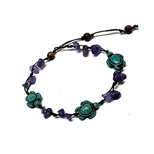 hot Purple Amethyst Color Bead Turtle in Turquoise Anklet or Bracelet 26 cm.Handmade Tiger Eye Stone Beads supplies