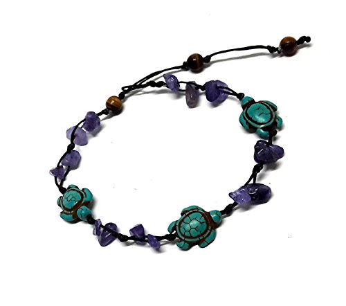 [Purple Amethyst Color Bead Turtle in Turquoise Anklet or Bracelet 26 cm.Handmade Tiger Eye Stone] (Dance Moms Amber Alert Costumes)