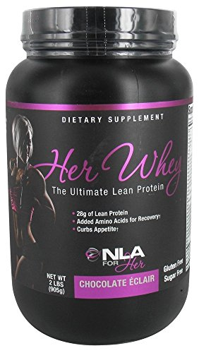 NLA for Her - Her Whey - Ultimate Lean Whey Isolate Protein - 28g of Lean Protein, Added Amino Acids for Recovery, Builds Muscle, & Helps Curb Appetite - Chocolate Éclair - 2 Lb Tub ()