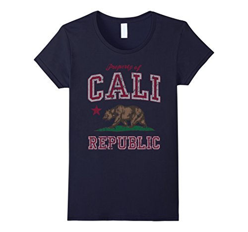 Womens Property Of Cali Republic California Flag Vintage T Shirt Large Navy