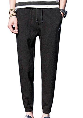 X-Future Mens Leisure Drawstring Slim Fit Linen Ankle-Length Jogger Running Harem Pants Black M (Front Plain Pants Week)