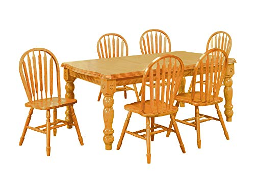 Sunset Trading 7 Piece Extension Dining Set with Arrowback Chairs, Light Oak