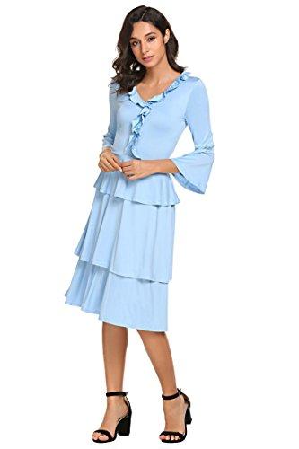 Vintage Style 4 Women Layered V Ruffle Dress 3 Flare Bulges Sleeve Neck Sky Blue Zwq15EYx