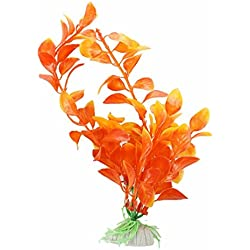 Decoration-TOOGOO(R) Orange Artificial Plant Plastic Aquarium Decoration