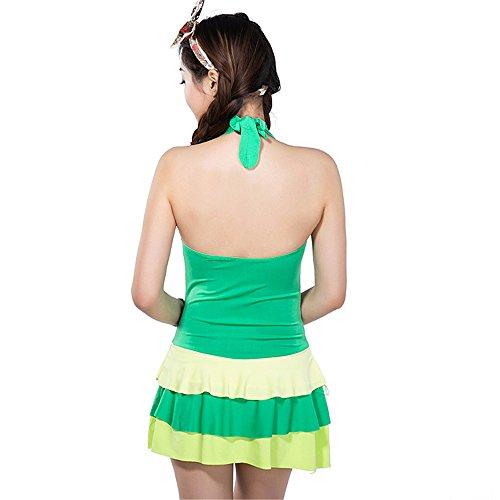 COCO clothing Las Mujeres Cuello en V Halter Conjuntos de Bañador Push Up Dos Piezas Senora Volantes Tankini Traje de Baño para Playa Verde
