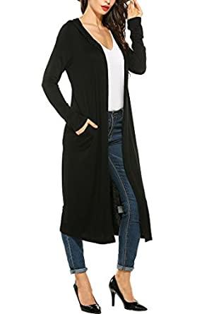 Elever Womens Hooded Long Sleeve Open Front Draped Waterfall Maxi ...