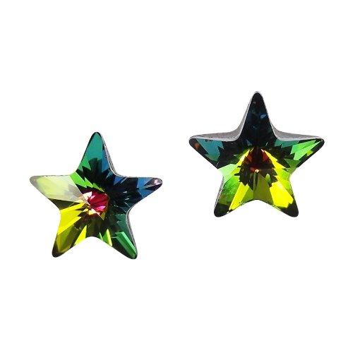 Green Rainbow Crystal (Prism Green Rainbow Crystal Star .925 Sterling Silver Stud Earrings)