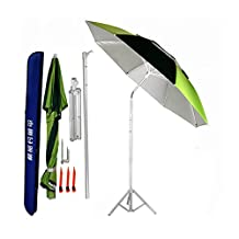 Smarty Outdoor Beach Canopy Foldable UV Protection Rotate Fishing Camping Shelter Umbrella with Triangular Metal Inserted