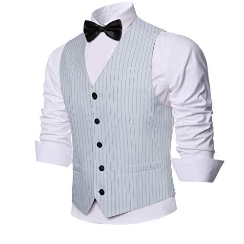 Coucoland Chaleco de traje para hombre, cuello en V, sin mangas, con 5 botones, corte ajustado, para esmoquin, para…