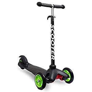 OxGord Scooter for Kids - Deluxe Aluminum 3 Wheel Glider with Kick n Go, Lean 2 Turn, Step 4 Break - Black