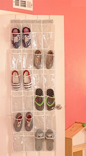 Large Product Image of 24 Pockets - SimpleHouseware Crystal Clear Over The Door Hanging Shoe Organizer, Gray (64'' x 19'')