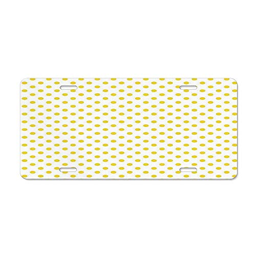 Wonderhorsegala Yellow Decor Picnic Like Cute 50s 60s 70s Themed Yellow Spotted White Pattern Print Personalized Auto Truck Car Front Tag Novelty Aluminum 12 x 6 in