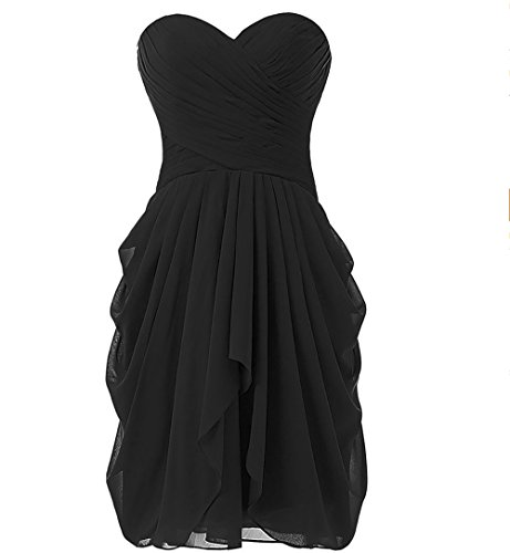 Sweetheart Dance Dresses (Achaestrella Chiffon Bridesmaid Dress Short Sweetheart Homecoming Dance Gown (US16, Black))