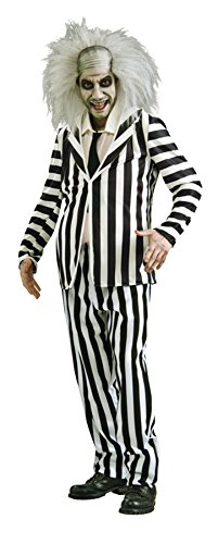 UHC Men's Beetlejuice Outfit Movie Theme Fancy Dress Halloween Costume, STD (38-42)