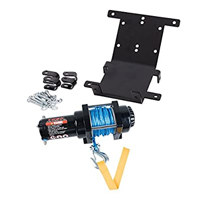 TUSK Winch with Synthetic Rope and Mount Plate 3500 lb. - Fits: Yamaha RHINO 660 4x4 2004-2007