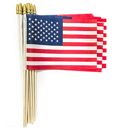 Xibaeu Small American Flags on Stick 5x8 Inch/Small US Flags/Handheld American Wooden Stick Flag- July 4th Decoration, Veteran Party, Grave Marker, etc. (25 Pack) -