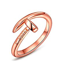 DreamWalk Accessories Women's Nail Design Stainless Steel Finger Ring. Open Adjustable Feature Fits Most Sizes