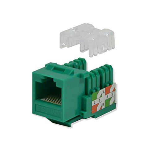 LOGICO 100 Pack lot Keystone Jack Cat5e Green Network Ethernet 110 Punchdown 8P8C