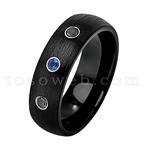 Diamond Tungsten Sapphire - Ladies 0.21ctw Blue Sapphire & Black Diamond 3-Stone Wedding Band, Solid Tungsten Carbide Comfort Fit Anniversary Ring, Semi-Dome Black Ion Plated Brushed Center Tungsten Carbide Ring-s7.5