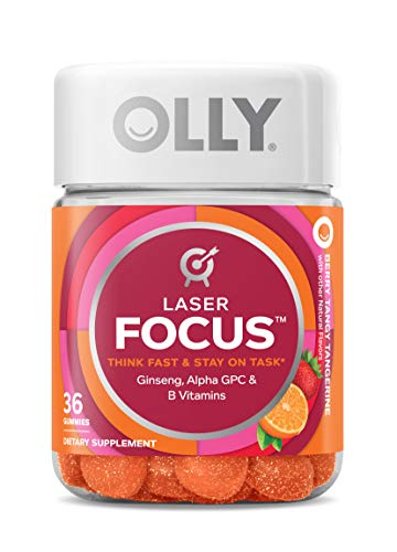 OLLY Laser Focus Gummy, 18 Day Supply (36 Gummies), Berry Tangy Tangerine, Ginseng, Alpha GPC, B Vitamins, Chewable Supplement