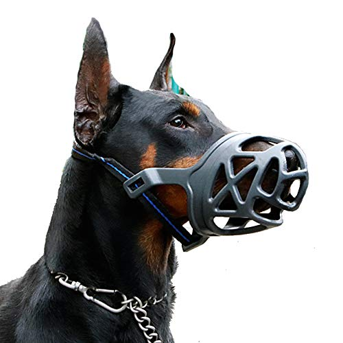 Dog Muzzle, Breathable Basket Muzzles for Small, Medium, Large and X-Large Dogs, Anti-Biting, Barking and Chewing Dog Mouth Cover (L, Black) ()