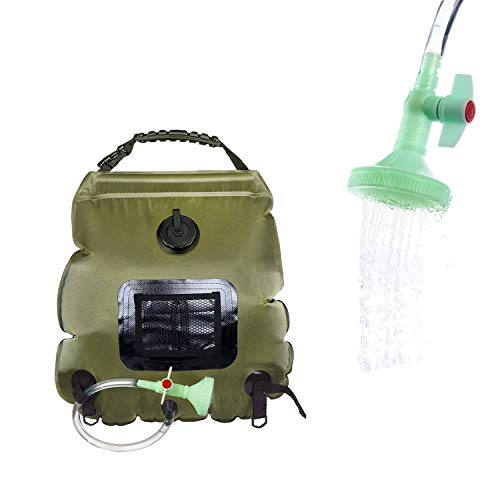 ELECTRFIRE Solar Shower Bag Camp Shower 5 Gallon with Removable Hose and On-Off Switchable Shower Head for Camping Beach Swimming Outdoor Traveling Hiking