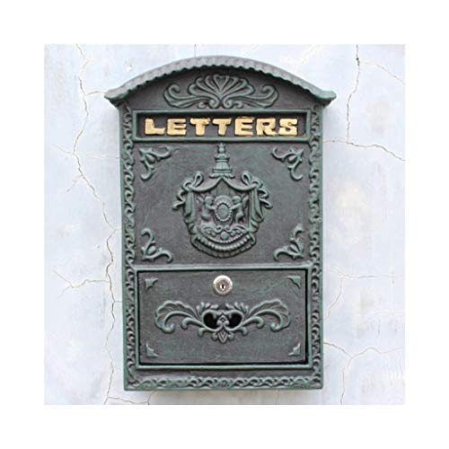 - Outdoor Wall-mounted Mailbox Lockable Retro PO Box Rust-proof Waterproof Secure Letter Office Mailbox Garden Apartment 24.5 8.2 34.5cm