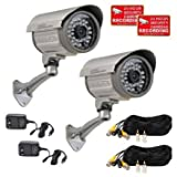 VideoSecu 2 of Outdoor Day Night Vision Infrared Bullet Security Cameras Built-in SONY CCD Wide Angle Lens for CCTV DVR Home Surveillance System with Power Supplies and Extension Cables IRX36S A12 Review