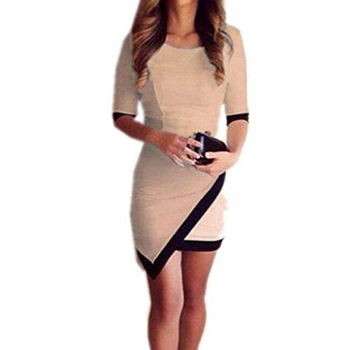 FAPIZI ♥ Women Dress ♥ Women Summer Bandage Evening Party Irregular Mini Dress (L, Khaki)