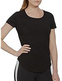 LRL Ralph Lauren Active Women's Crewneck Seamed T-Shirt Top Black Medium