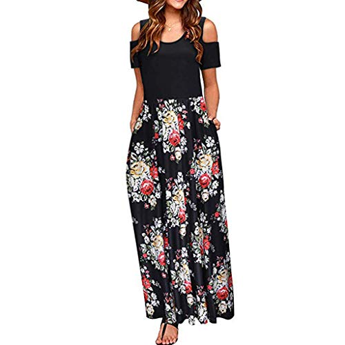 Qingell Women's Summer Cold Shoulder Floral Print Tunic Top T-Shirt Swing Dress Elegant Maxi Long Dress with Pocket Black