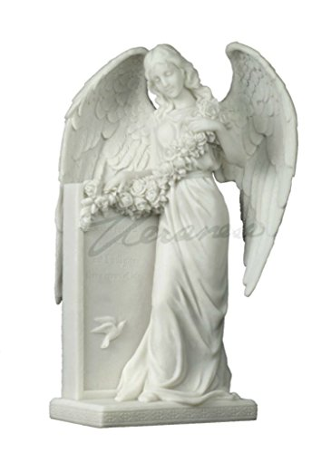 Weeping Angel Holding Flowers at the Tombstone Marble White Statue Figurine Polystone (Angel Tombstone)
