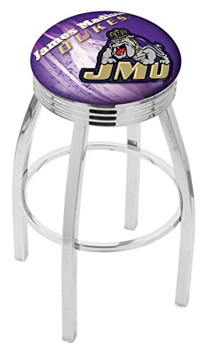 Chrome Seat Ring Bar Stool (Holland Bar Stool Officially Licensed L8C3C James Madison University Swivel Bar Stool, 30
