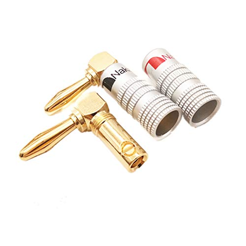 (PPX 4PCS Right Angle Speaker Banana Plugs 90°Degree 24K Gold Plated Audio Jack Connector L Shape Speaker Adapter for Speaker Cable,2 Black and 2 Red)