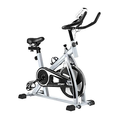 Indoor Cycling Bike Cycle Exercise Bike, Mini Exercise Bike Indoor Cycle Trainer Smooth Trainer Equipment Bicycle Training High Weight Capacity Commercial Indoor Cycling Bike w/ LCD Display (white 3)