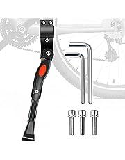 Hoxsury Verstelbare fietsstandaard van aluminium met anti-slip rubberen voet voor 24-28 inch mountainbike, racefiets, MTB, zwart/wit