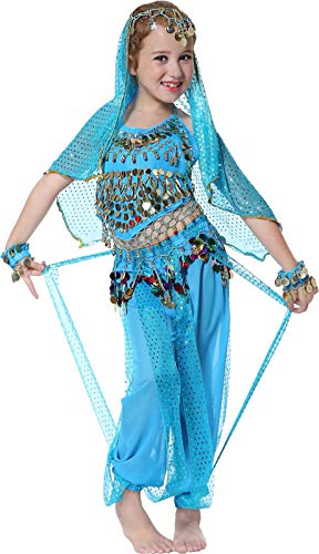 Belly Dancer Costumes for Girls Teen Genie Outfits 3T 4T 4 5 6 7 8 9 12 14 16 Blue -