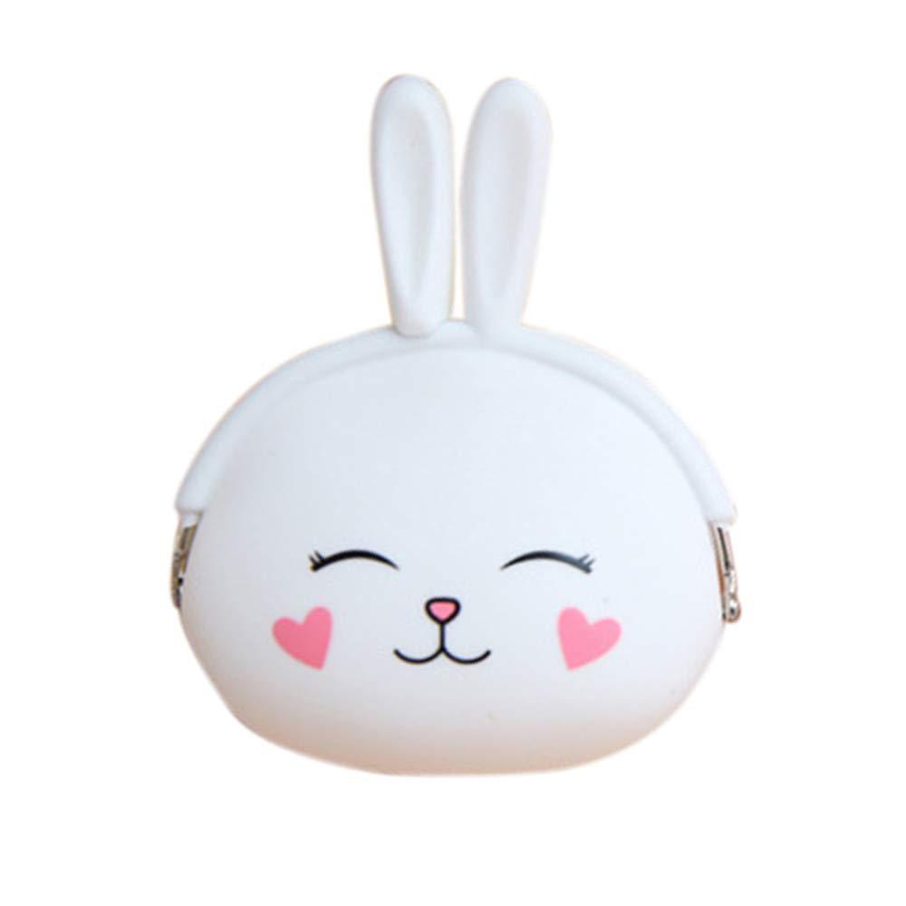 Weite Coin Purse, Girls Cute Cartoon Long Ear Rabbit Soft Silicone Handbag Change Bag Zero Wallet with Zipper (Pink)