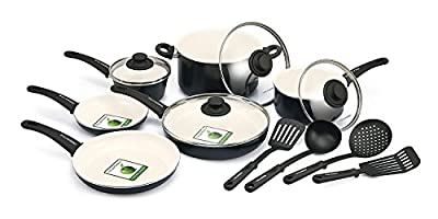 Premium 14 Piece Cookware Set Nonstick Ceramic Coating - No PFAS / PFOA / Lead/ Cadmium 14 Piece, Black, Glass Lid, Featured on Food Network