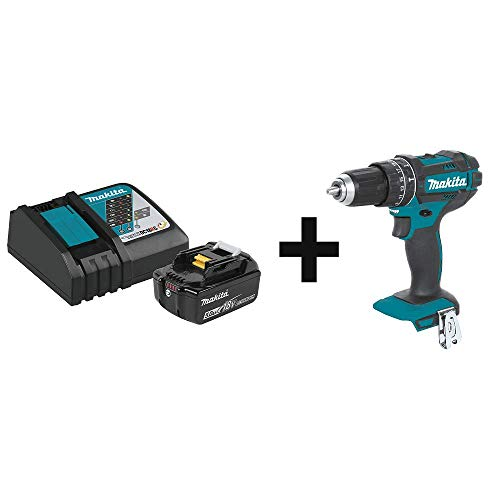 Makita BL1850BDC1 18V LXT Lithium-Ion Battery and Charger Starter Pack (5.0Ah) & XPH10Z 18V LXT Lithium-Ion Cordless 1/2