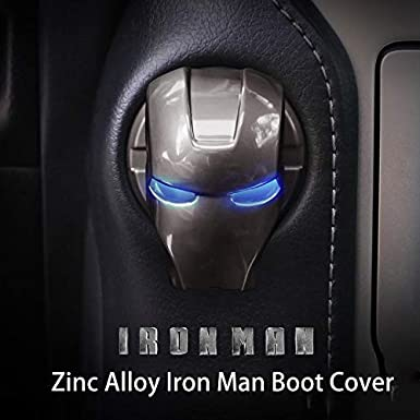 Grey 1 PCS Car One-Button Start Button Protective Cover Interior Modification Ignition Device Switch Iron Man Universal Aluminum Alloy Button Decoration Stickers for Cars